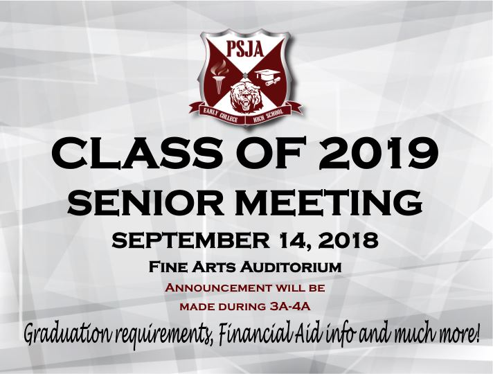 ATTENTION CLASS OF 2019!