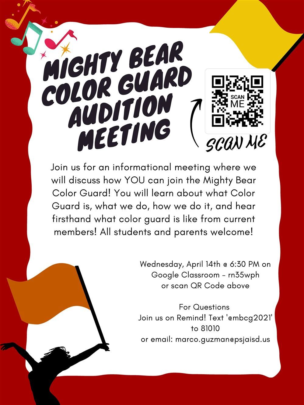 Mighty Bear Colorguard Audition Meeting