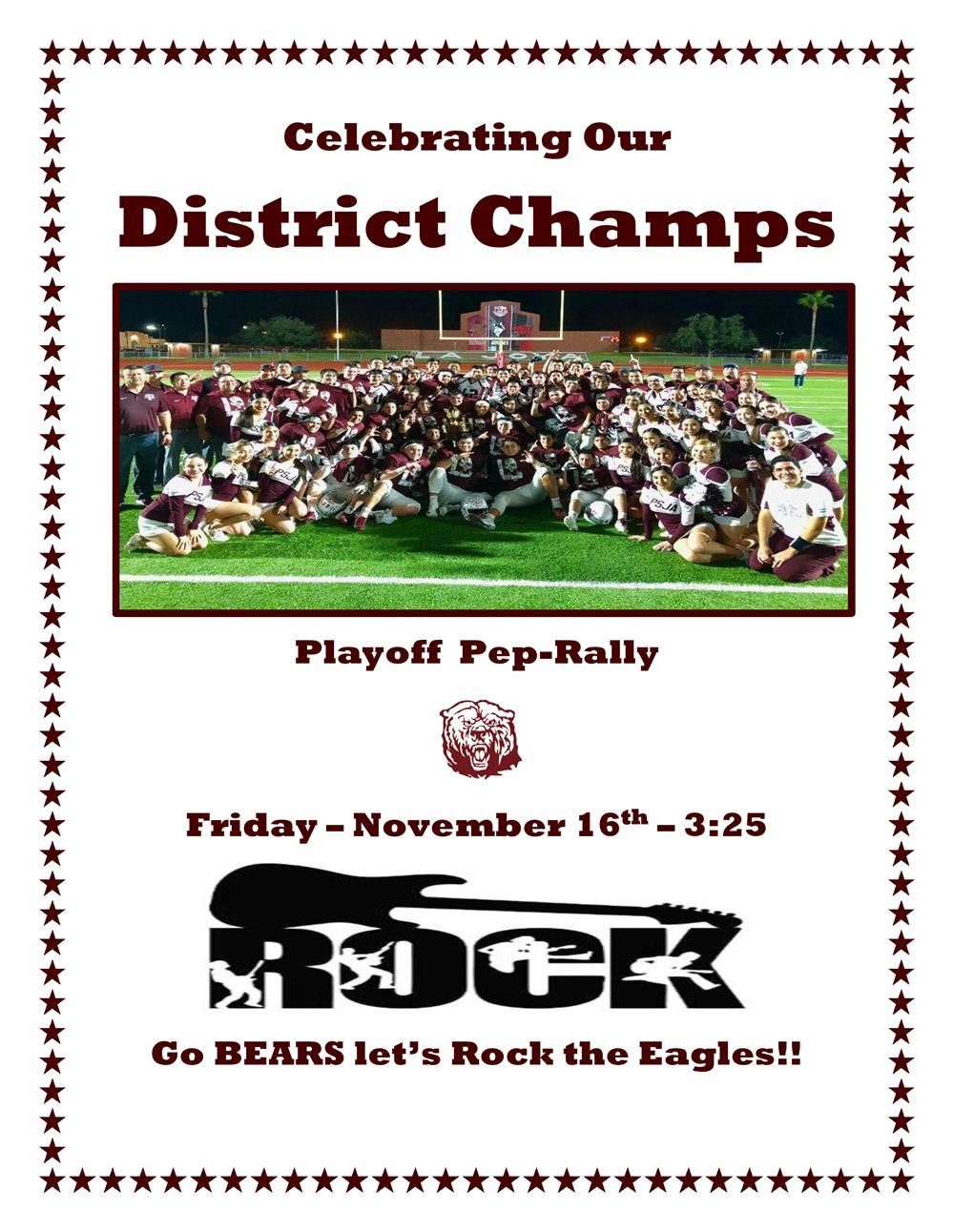 DISTRICT CHAMPS PEP-RALLY