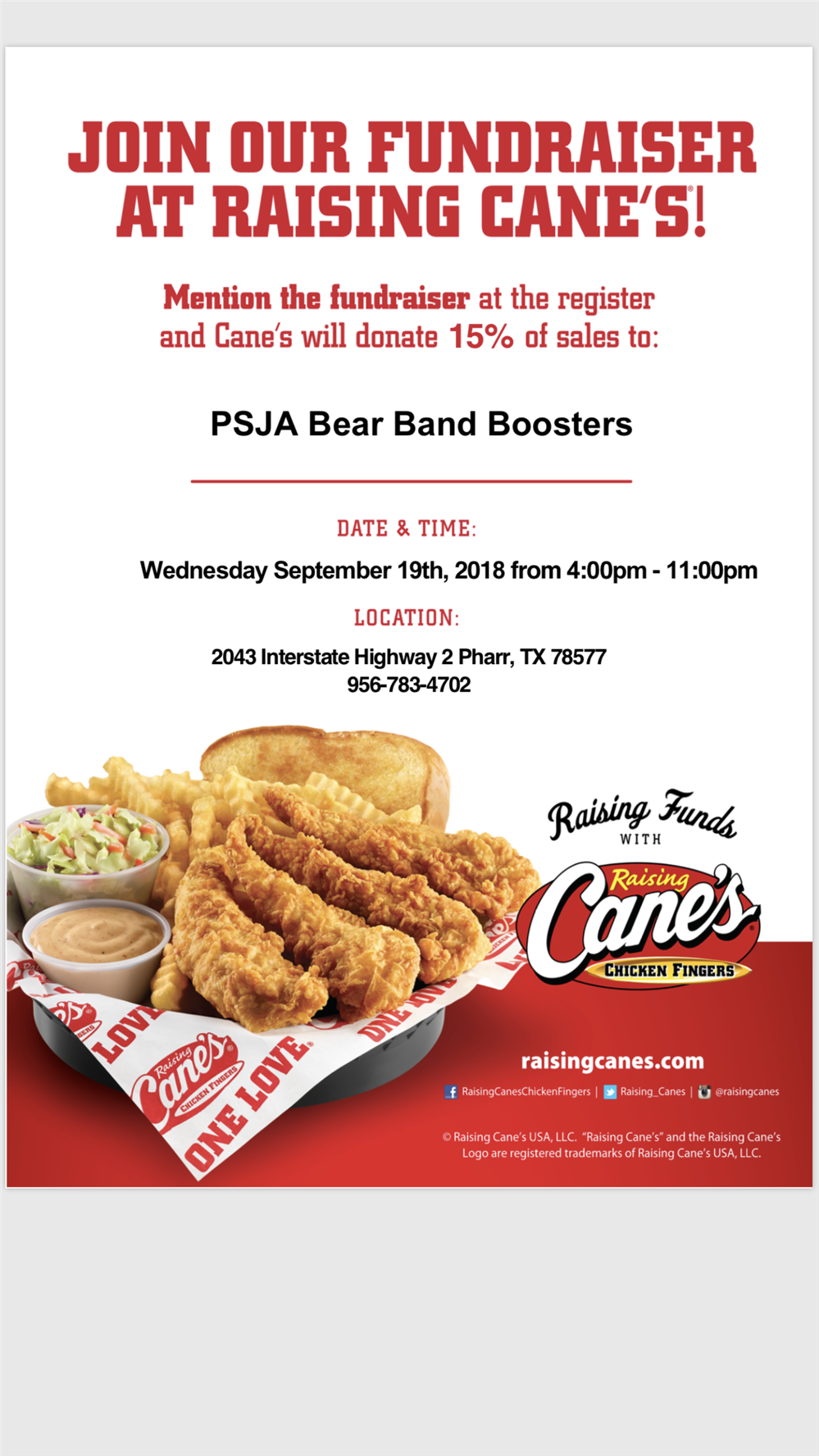 JOIN OUR FUNDRAISER AT RAISING CANE'S