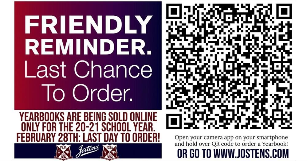 LAST CHANCE TO ORDER YOUR YEARBOOK