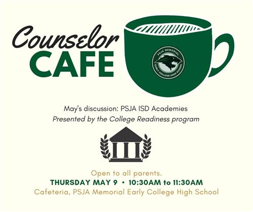 Join for our monthly Counselor Cafe