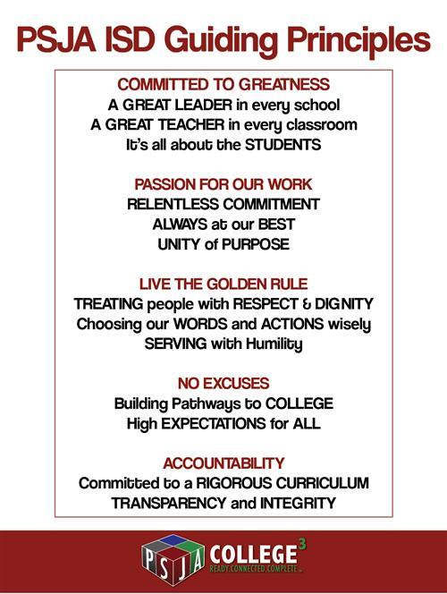 PSJA Guiding Principles, text alternative can be found below.