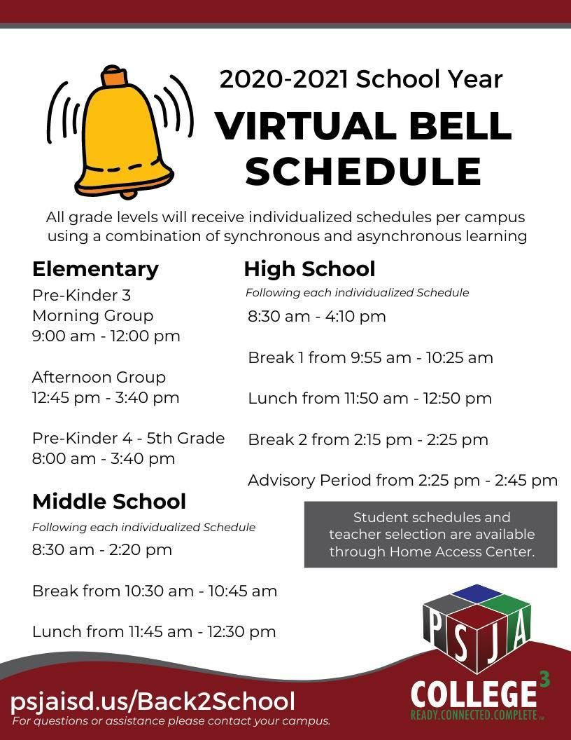 2020-2021 Virtual Bell Schedule