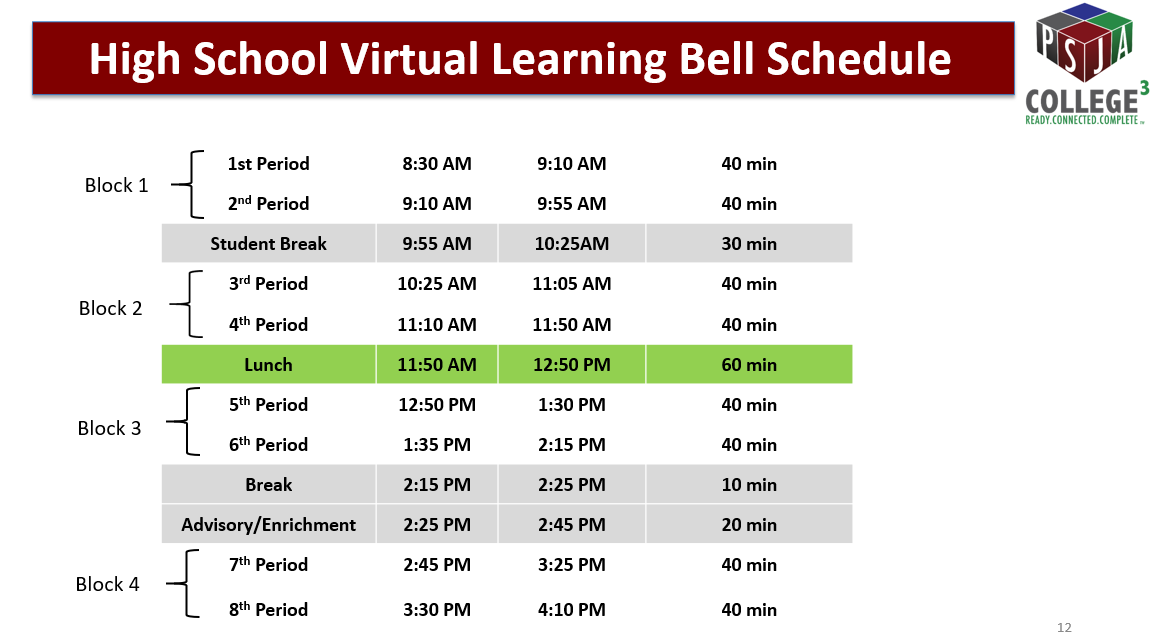 Virtual Learning Bell Schedule