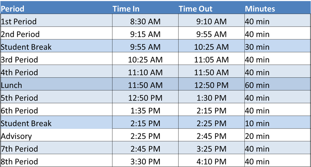 Bell Schedule for Online Instruction