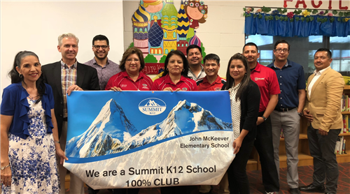 John McKeever Elementary was also awarded a banner for being the only school in the nation with 100% rising science scores