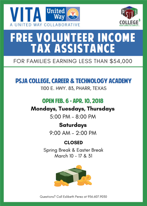 Free income tax preparation services for qualifying taxpayers at PSJA ISD