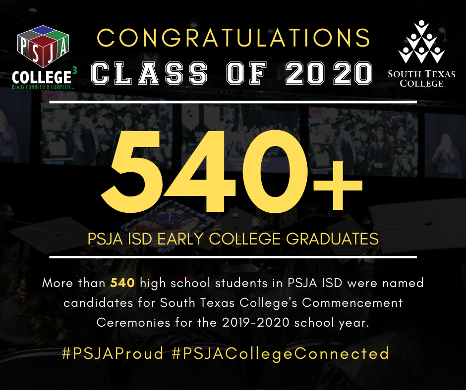 Breaking a district record, 541 PSJA ISD seniors were named candidates to receive Associate Degrees from South Texas College