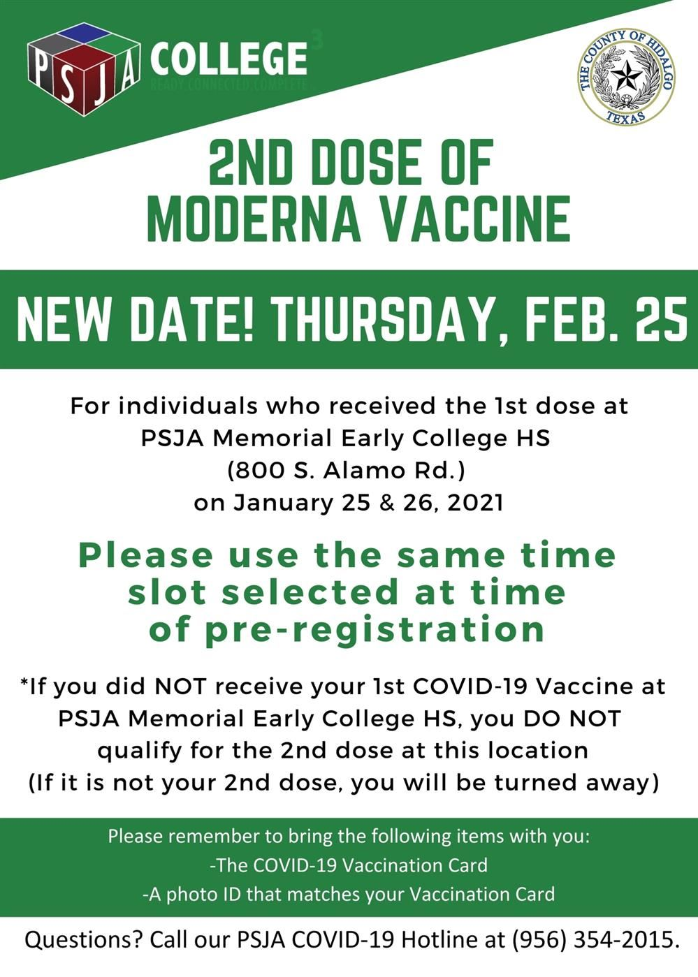 Update *New Date*: 2nd Dose Moderna Vaccine will be available on Thursday, Feb. 25