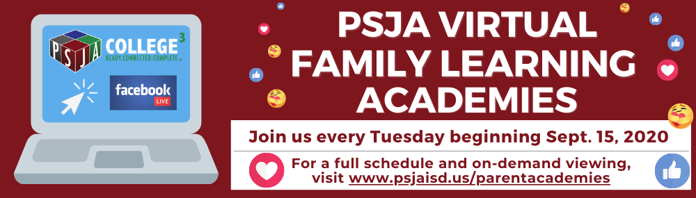 PSJA Virtual Family Learning Academies banner
