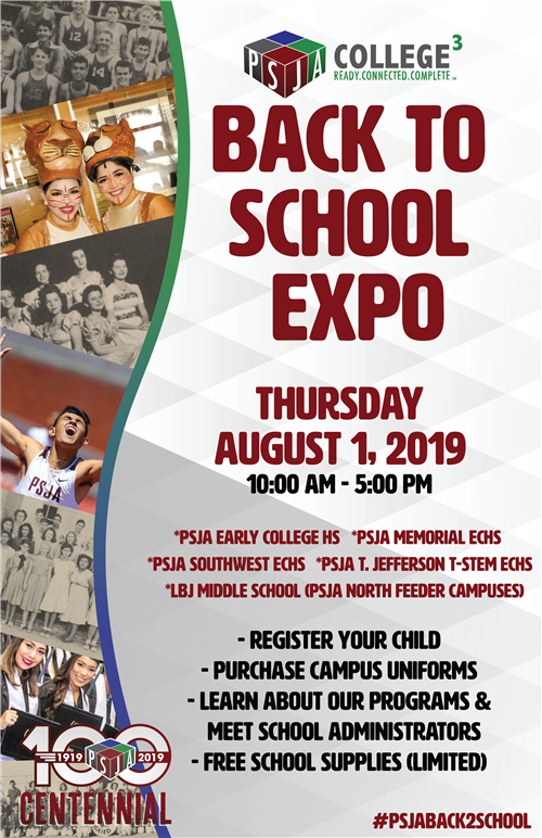 2019 PSJA Back to School Expo, August 1, 2019 from 10am-5pm