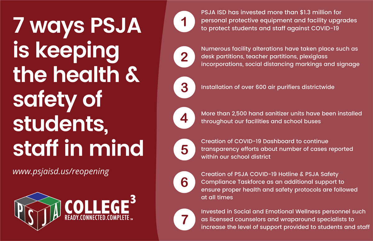 7 Ways PSJa is keeping the health and safety of students in mind.