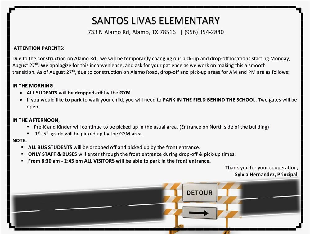 Attention Santos Livas Elementary Parents Only:
