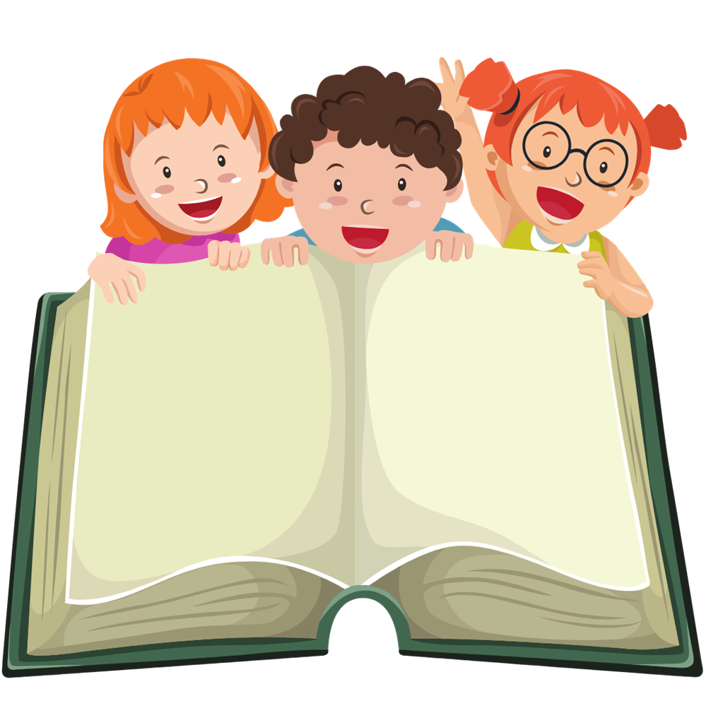 3 children with a huge book