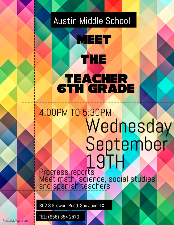 Meet The Teacher, Wednesday,September 19th. From 4:00 pm to 5:30 pm