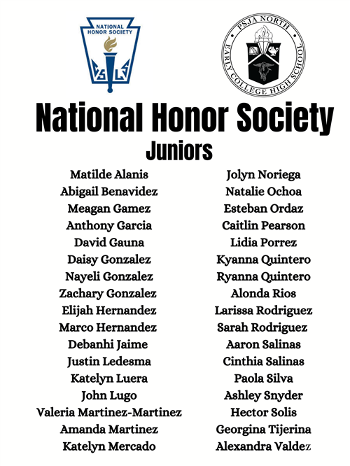 National Honor Society Juniors