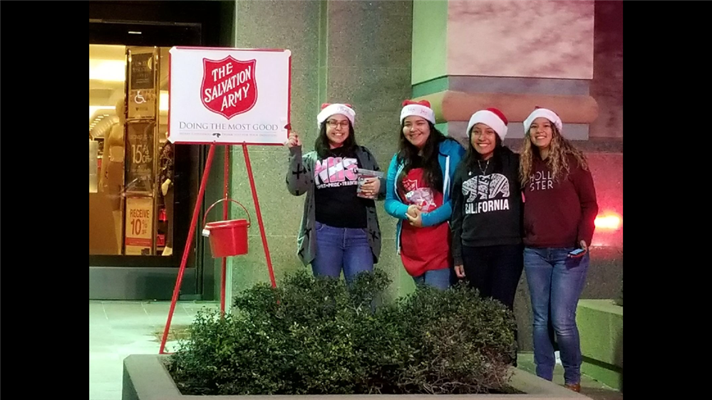PSJA North Students and Faculty ringing bells to help the Salvation Army!