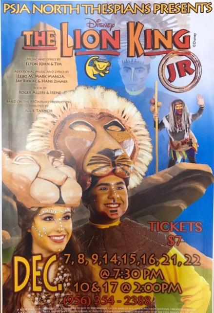 "Come out and see PSJA North Theater Department's Childrens Show, ""The Lion King JR.""! Don't Forget To Buy Your Tickets!"
