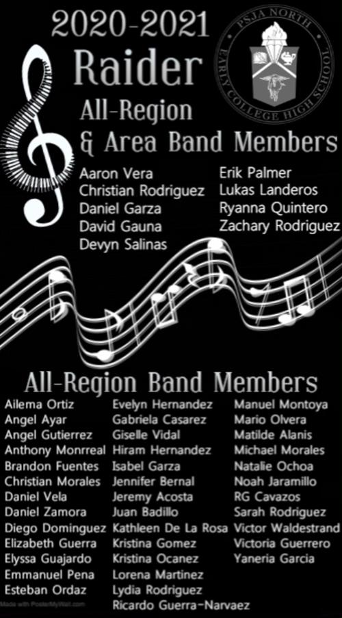Congratulations Raider Band Members!