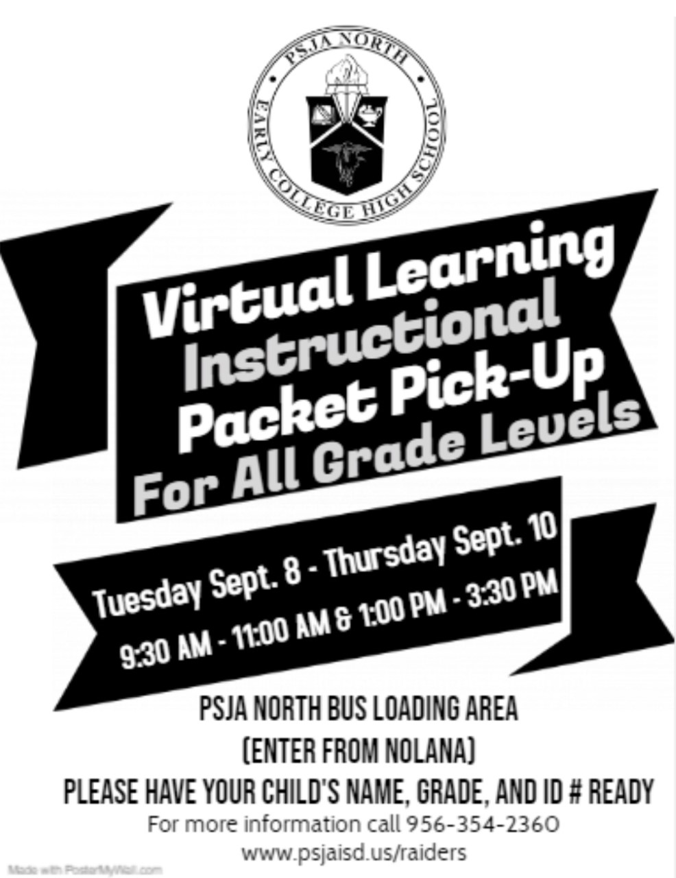 Virtual Learning Instructional Packet Pick-Up